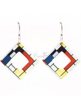 Orecchini Red Blue e Yellow di Mondrian