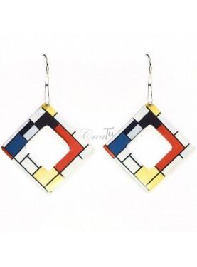 Orecchini Red Blue e Yellow di Mondrian