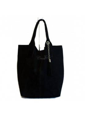 Maxi Borsa In Pelle Scamosciata nero Made In Italy