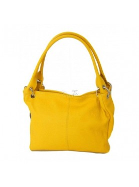 Borsa A Spalla In Vera Pelle Giallo Made In Italy