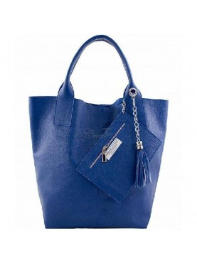 Maxi Borsa In Vera Pelle Blu Made In Italy