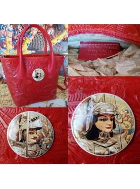 Secchiello in vera pelle rosso con inserto in ceramica